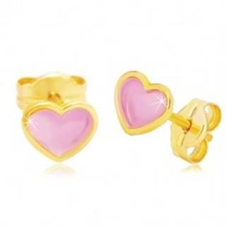 Náušnice zo žltého 14K zlata, srdiečko s ružovou glazúrou, puzetky