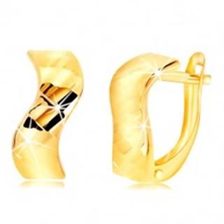 Náušnice zo žltého zlata 585 - zvlnený pás, lesklé vybrúsené plôšky