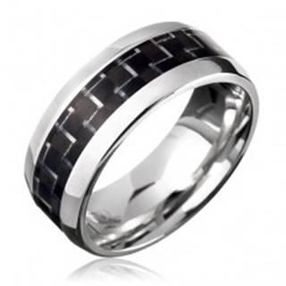 Oceľový prsteň - čierny karbónový pásik - Veľkosť: 57 mm