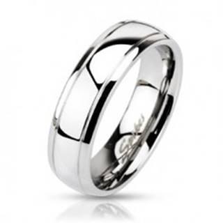 Oceľový prsteň - obruč s dvomi vygravírovanými pásmi - Veľkosť: 49 mm