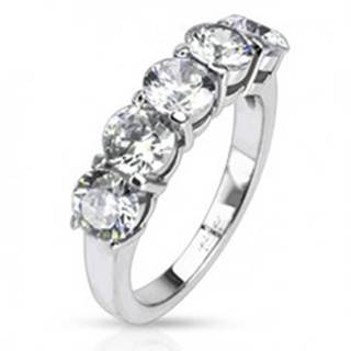 Oceľový prsteň - päť okrúhlych čírych zirkónov v dvojitej objímke - Veľkosť: 48 mm
