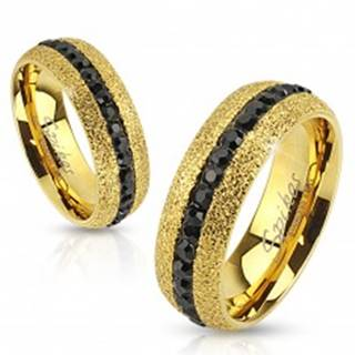 Oceľový prsteň zlatej farby, trblietavý, so zirkónovým pásom, 6 mm - Veľkosť: 49 mm