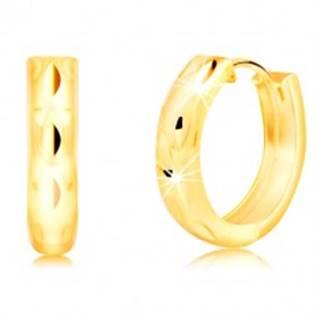 Okrúhle náušnice zo 14K žltého zlata so zvislými zrnkovými jamkami