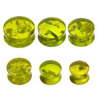 Piercing do ucha - plug, imitácia zeleného jantáru - Hrúbka: 10 mm