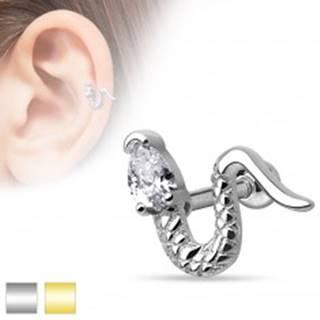 Piercing do ucha z chirurgickej ocele - zvlnený had s trojuholníkovým zirkónom - Farba piercing: Strieborná