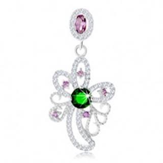 Prívesok, striebro 925, zelený okrúhly zirkón, asymetrická kontúra kvetu