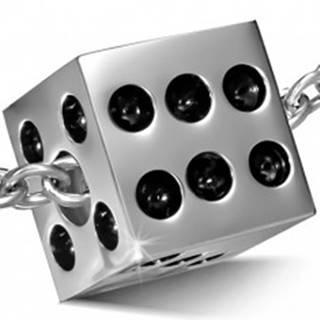 Prívesok z chirurgickej ocele striebornej farby - lesklá hracia kocka