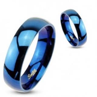 Prsteň z ocele - modrá lesklá obrúčka - Veľkosť: 59 mm