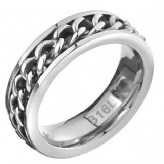 Prsteň z ocele - retiazkový stredový pás, strieborná farba - Veľkosť: 51 mm