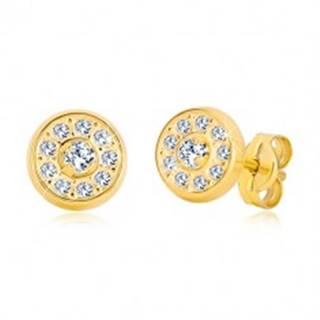 Puzetové náušnice zo žltého zlata 585 - krúžok vykladaný zirkónmi