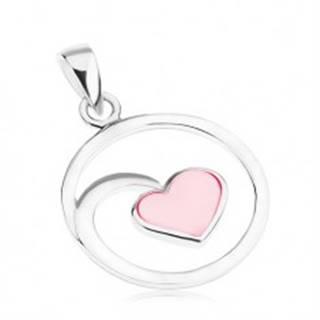 Strieborný 925 prívesok, obrys kruhu, zrkadlový lesk, srdiečko, ružová perleť