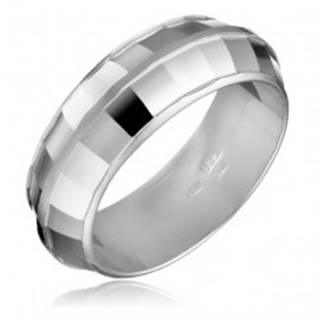 Strieborný prsteň 925 - DISCO, lesklé štvorčeky - Veľkosť: 50 mm