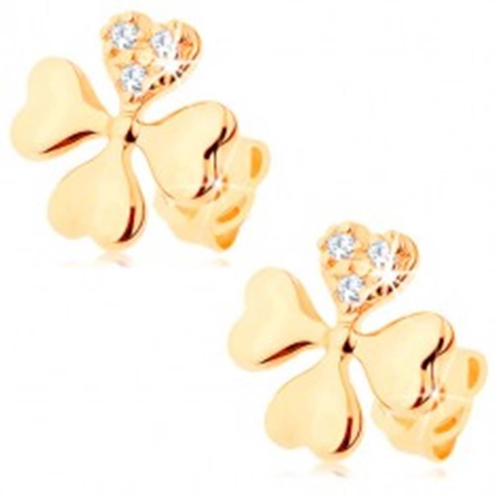 Šperky eshop Diamantové náušnice zo žltého 14K zlata - symbol šťastia zo štyroch srdiečok