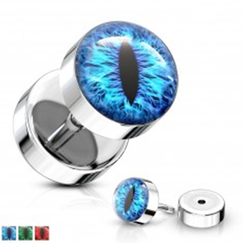 Šperky eshop Fake plug z chirurgickej ocele striebornej farby s motívom hadieho oka - Farba piercing: Červená