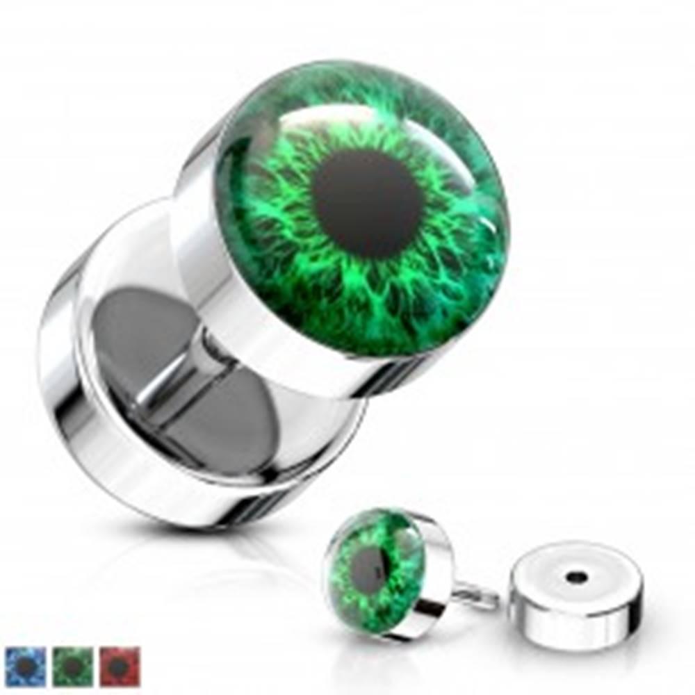 Šperky eshop Falošný plug z ocele 316L - farebné oko s čiernou zrenicou, číra glazúra - Farba piercing: Červená