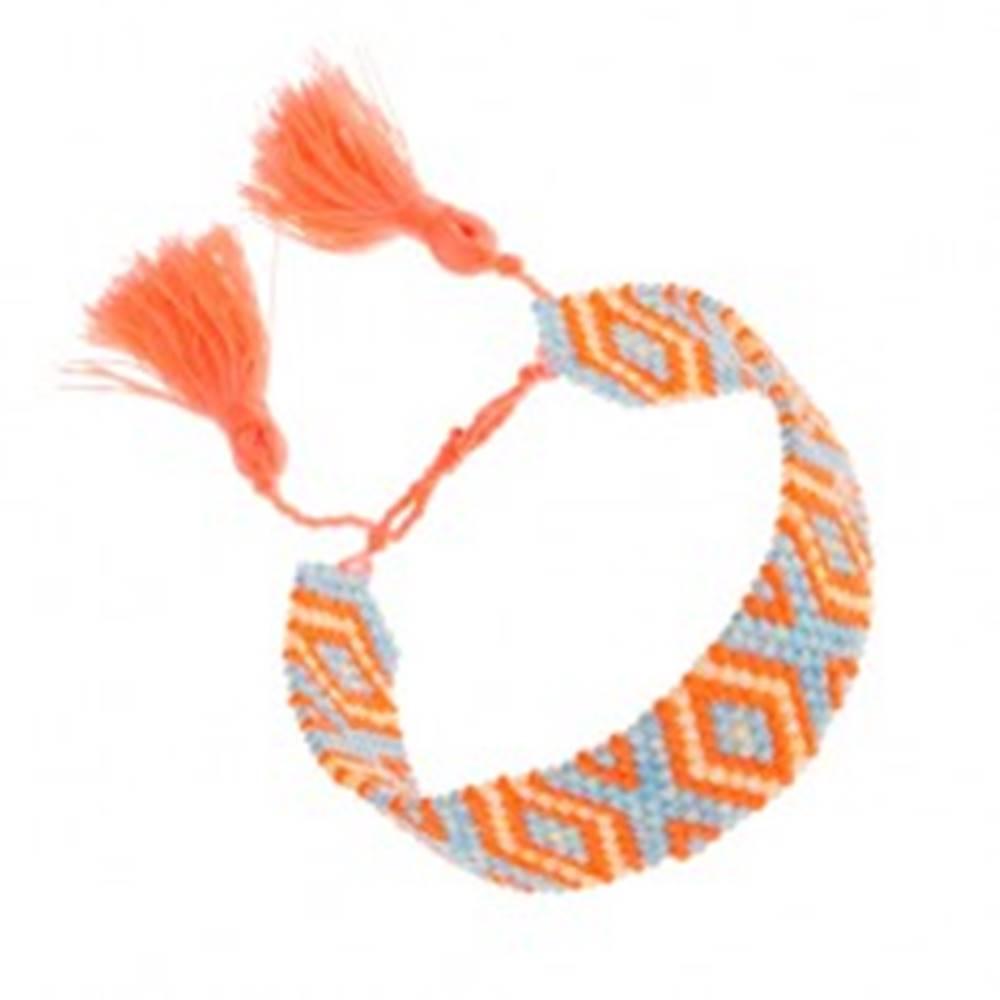 Šperky eshop Korálkový náramok, oranžová, modrá, žltá farba, vzor Indiánov, kosoštvorce