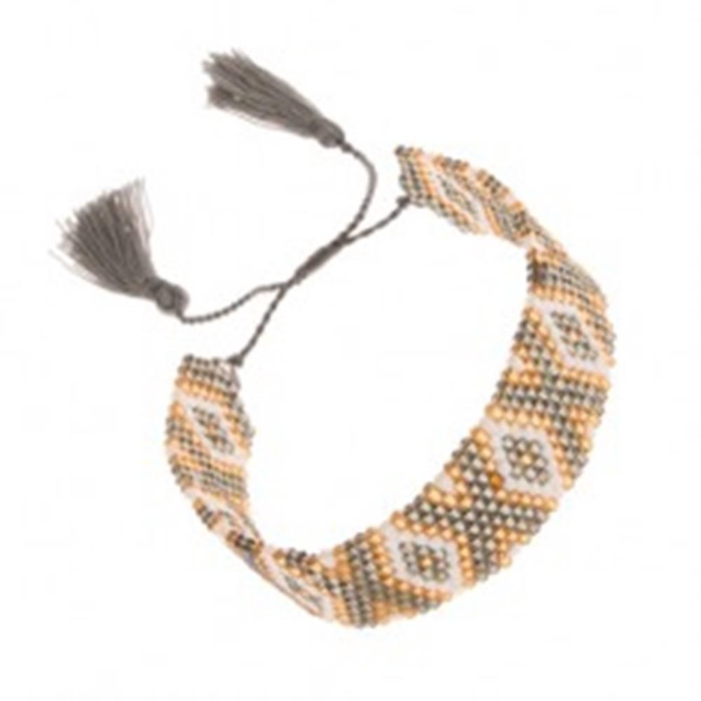 Šperky eshop Korálkový náramok, zlatá, biela a zelenošedá farba, indiánsky vzor