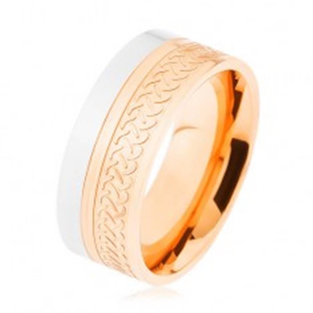 Šperky eshop Lesklá obrúčka, oceľ 316L, dvojfarebné prevedenie, keltský vzor - Veľkosť: 54 mm