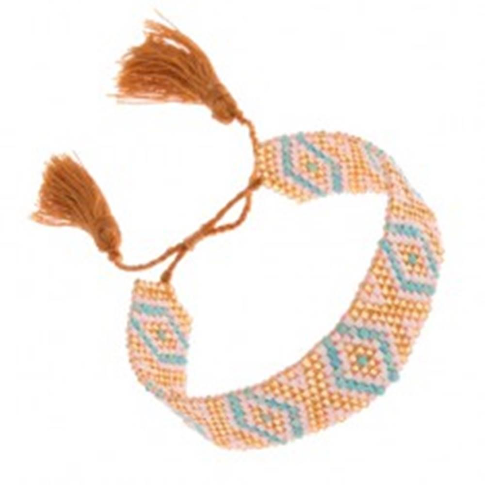 Šperky eshop Ligotavý korálkový náramok, tyrkysovo-bielo-zlatá farba, indiánsky vzor