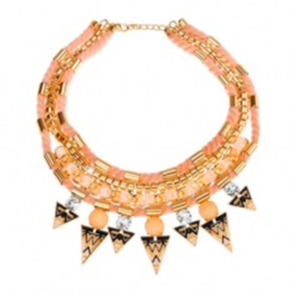 Šperky eshop Náhrdelník, pletené šnúrky, stužka, trojuholníky s ornamentmi, zirkóny