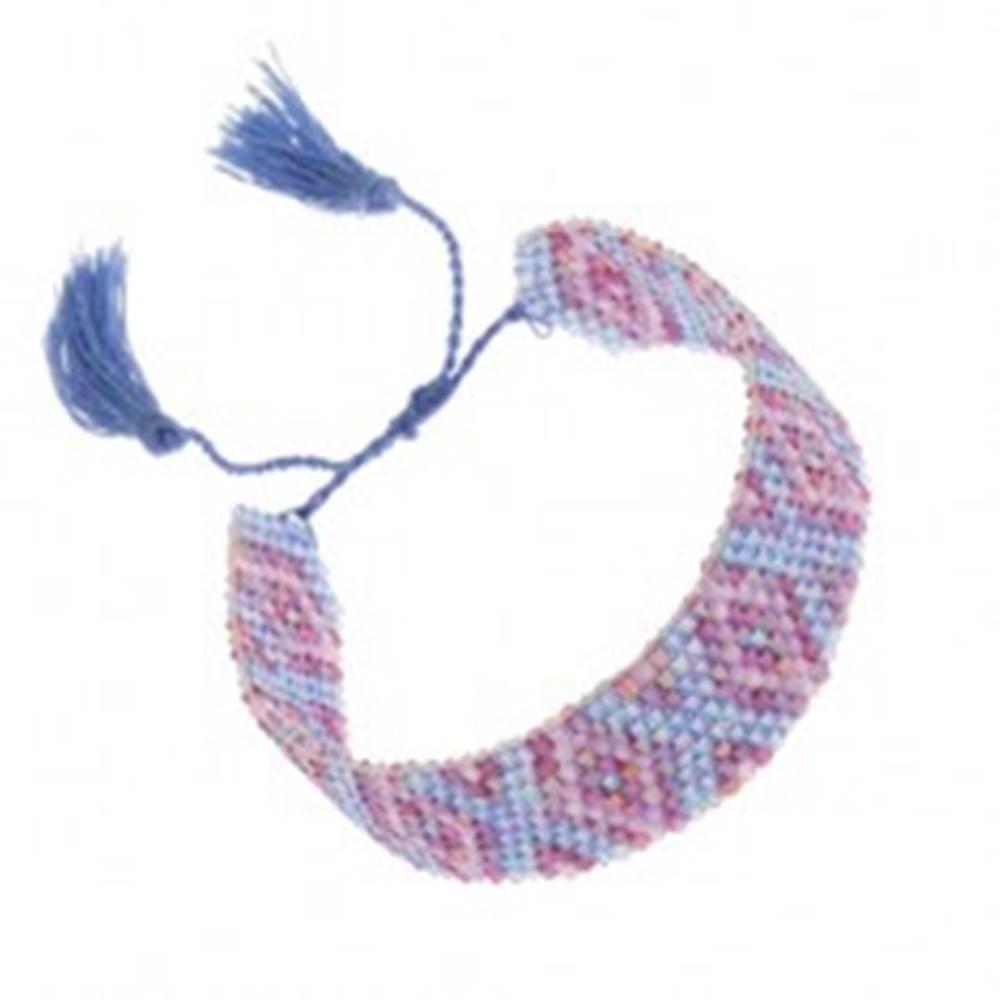 Šperky eshop Náramok s indiánskym motívom, ligotavé korálky, modrá a fialová farba