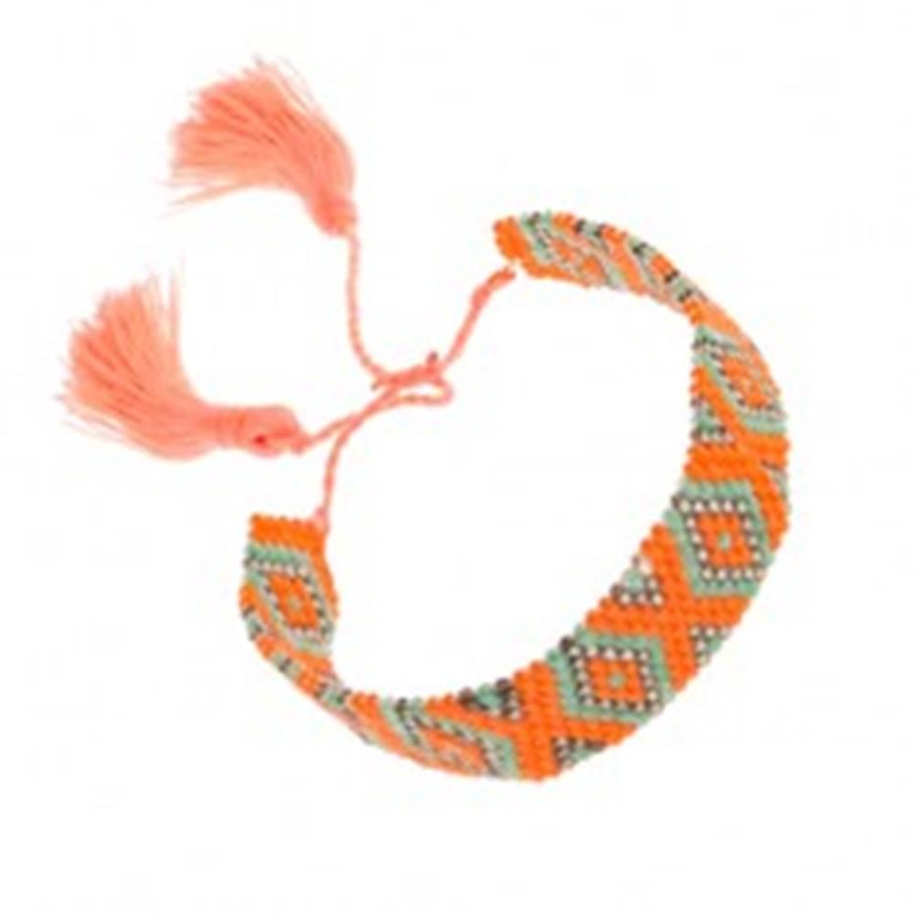 Šperky eshop Náramok z korálok, oranžová, zelená, sivá farba, vzor - kosoštvorce