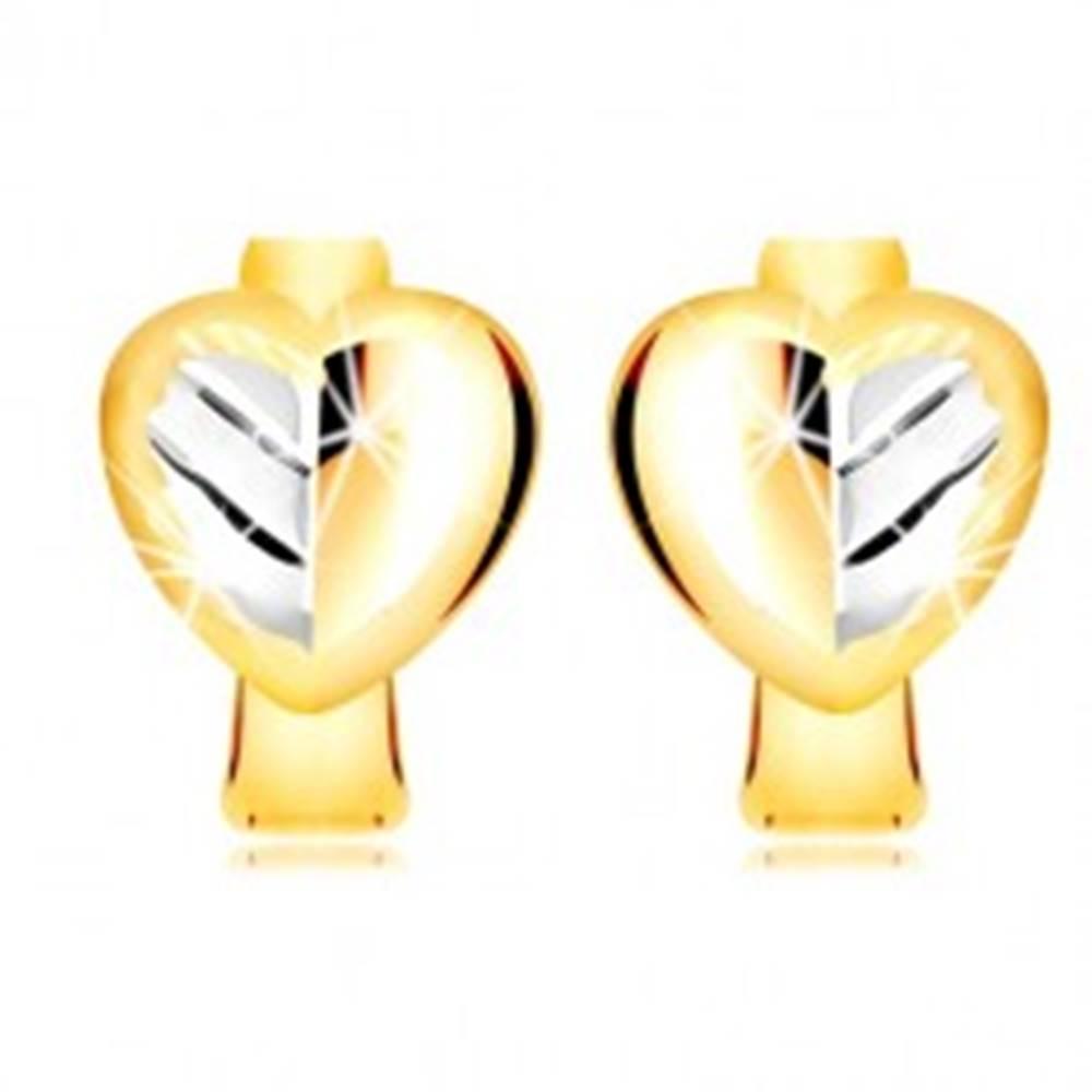 Šperky eshop Náušnice v kombinovanom zlate 585 - plné dvojfarebné srdce s listom