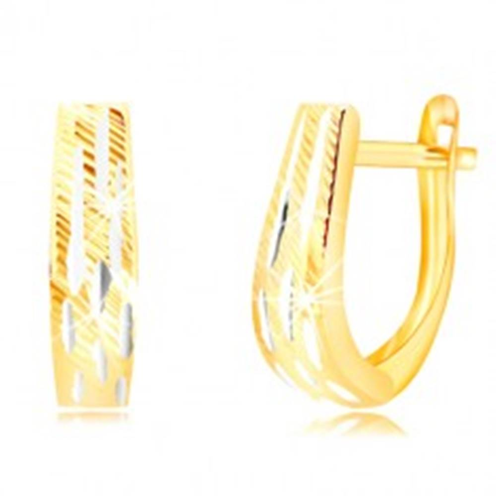 Šperky eshop Náušnice v kombinovanom zlate 585 - rozširujúci sa pás so zárezmi