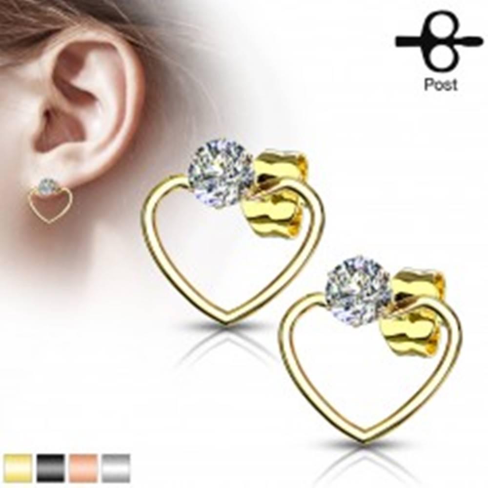 Šperky eshop Náušnice z chirurgickej ocele - obrys srdca so vsadeným zirkónom, puzetky - Farba: Čierna