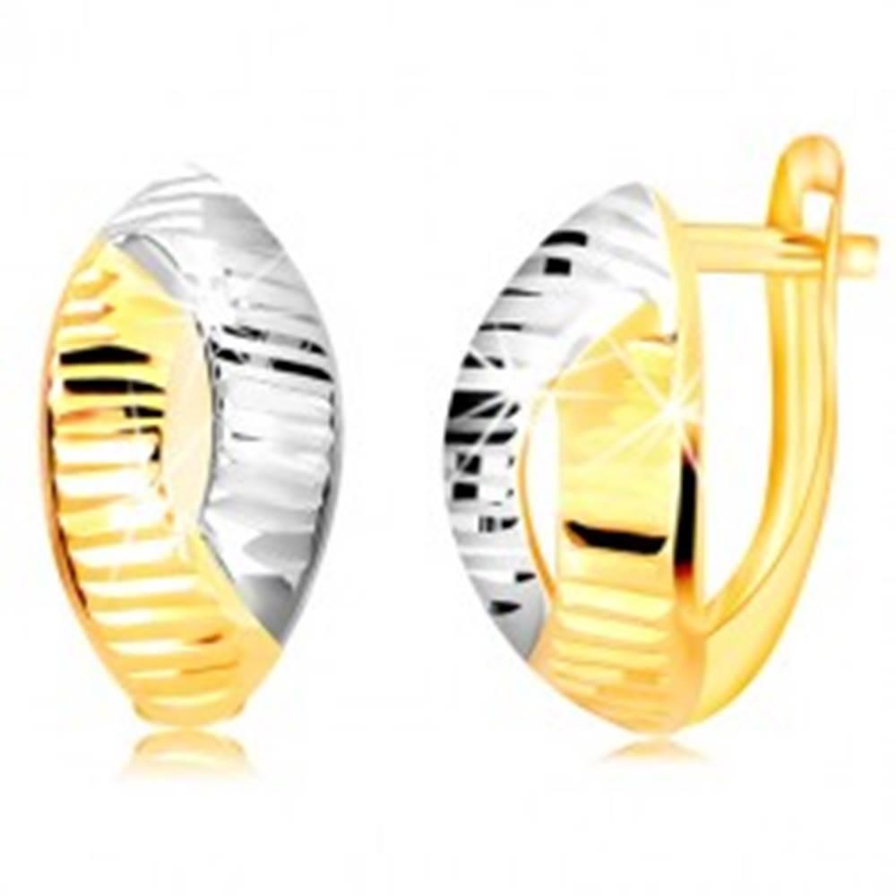 Šperky eshop Náušnice z kombinovaného zlata 585 - list s výrezom a vodorovnými líniami