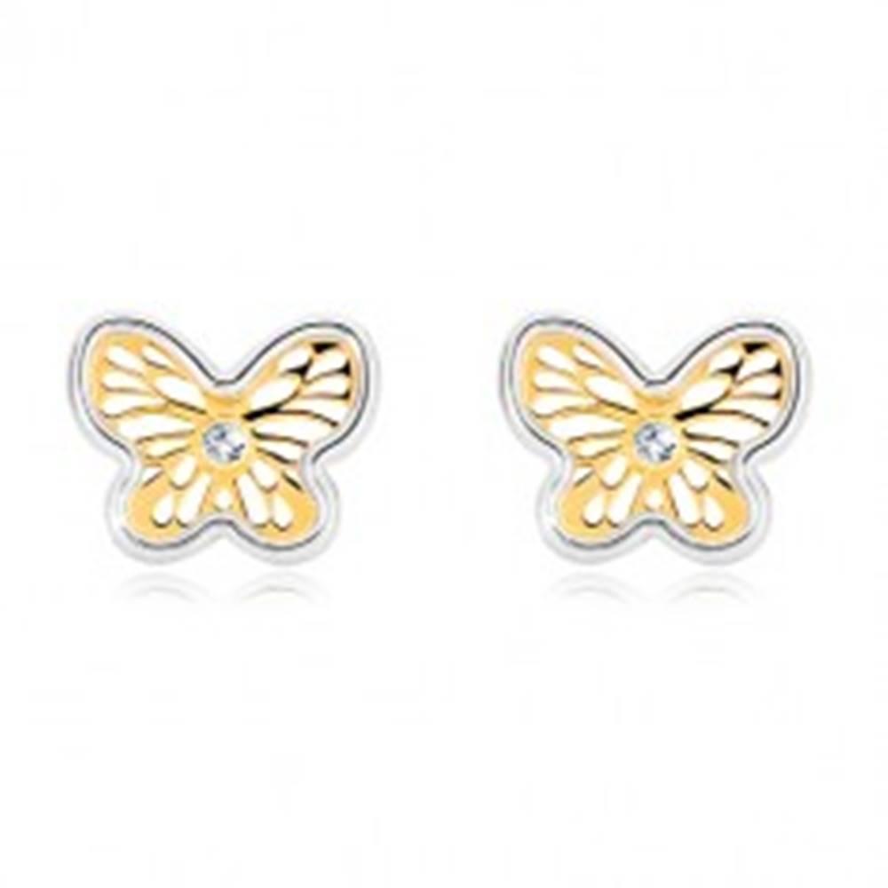 Šperky eshop Náušnice z kombinovaného zlata 585 - ozdobne vyrezávaný motýlik so zirkónom