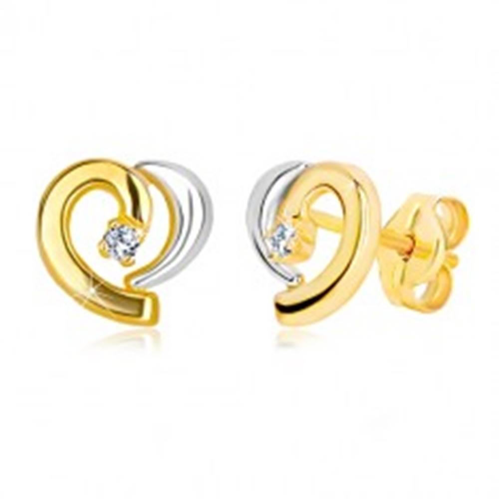 Šperky eshop Náušnice zo 14K kombinovaného zlata - kontúra nesúmerného srdca, zirkón