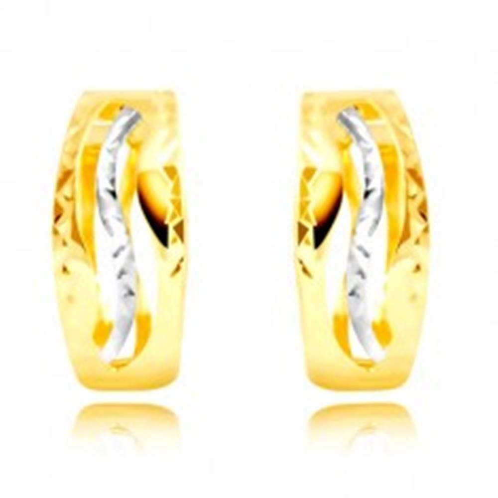 Šperky eshop Náušnice zo 14K zlata - jemne zvlnené výrezy, vlnka z bieleho zlata