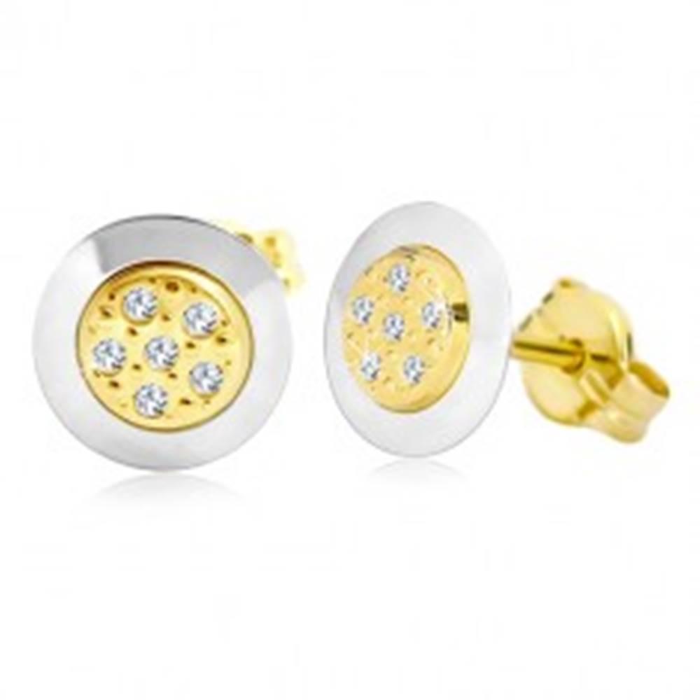 Šperky eshop Náušnice zo 14K zlata - kruh s čírymi zirkónmi v strede, žlté a biele zlato