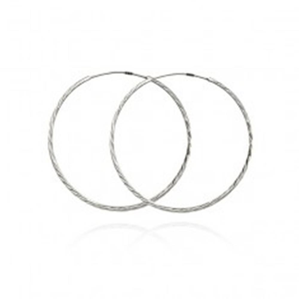 Šperky eshop Náušnice zo striebra 925 - úzke trblietavé kruhy, 30 mm