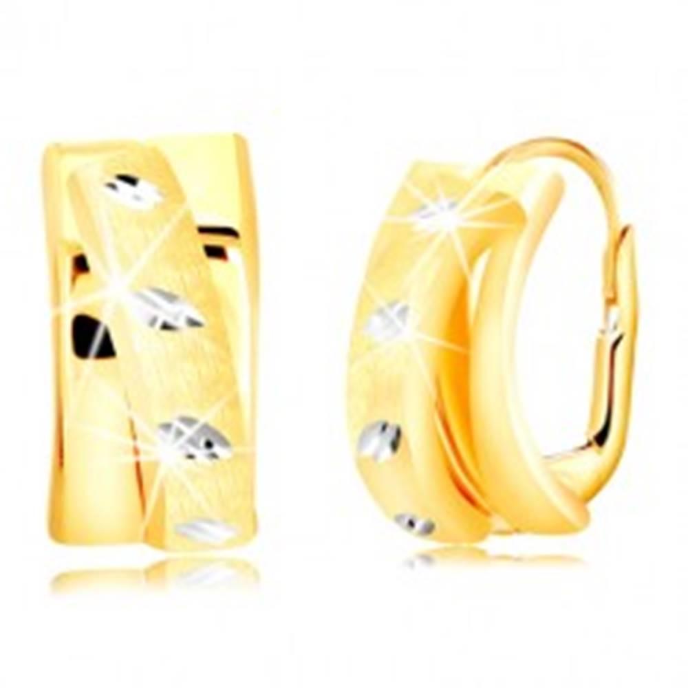 Šperky eshop Náušnice zo zlata 585 - oblúk zdobený matným polkruhom, zrnká z bieleho zlata