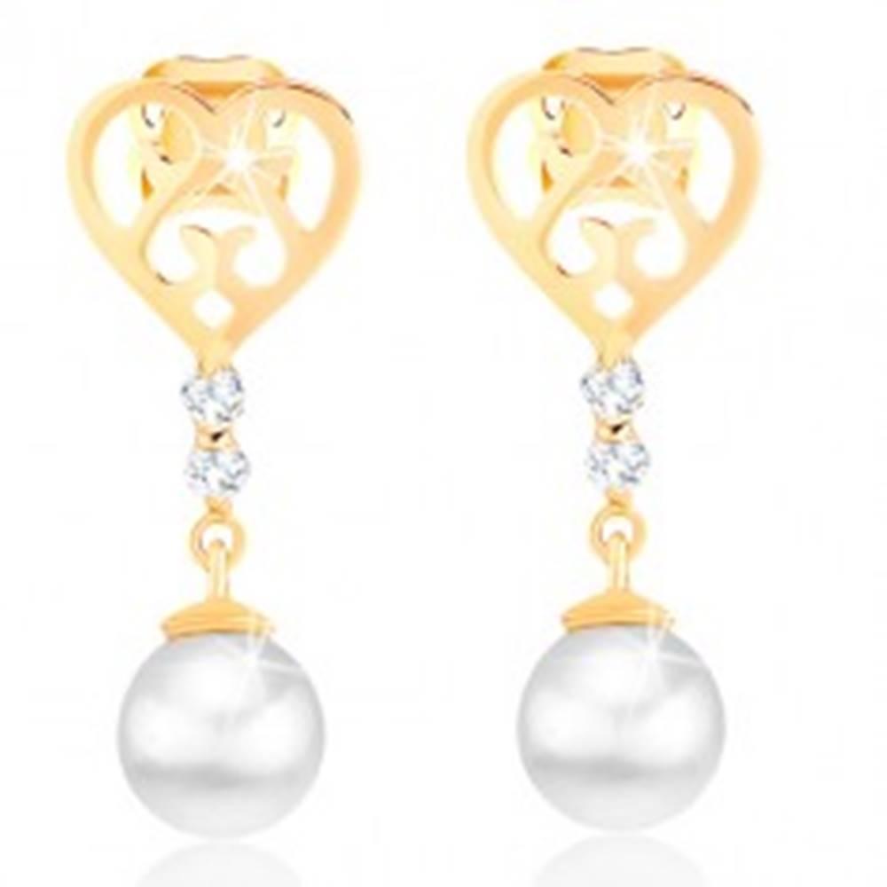 Šperky eshop Náušnice zo zlata 585 - srdce s vyrezávanými ornamentmi, briliantmi a perlou