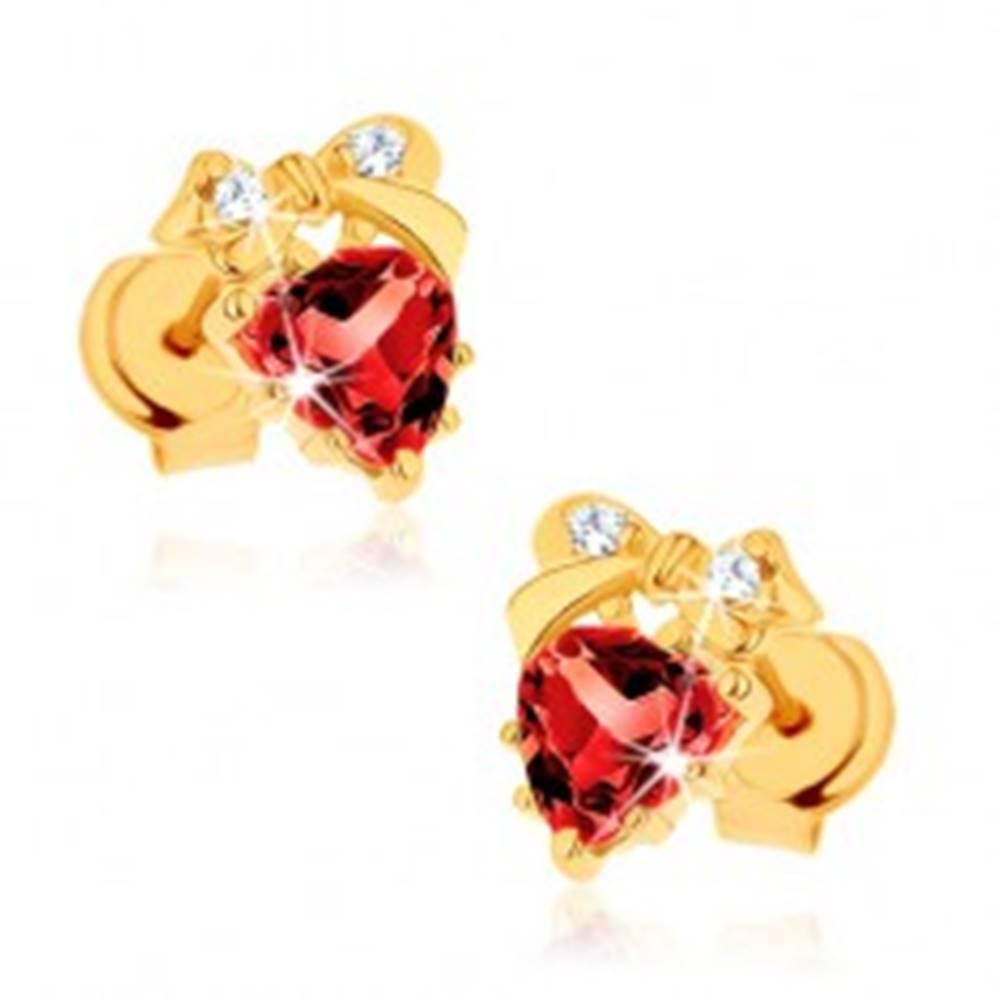 Šperky eshop Náušnice zo žltého 14K zlata - červené srdce z granátu, mašlička, číre zirkóniky