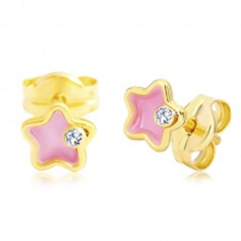 Šperky eshop Náušnice zo žltého 14K zlata, kvietok s ružovou glazúrou a zirkónom