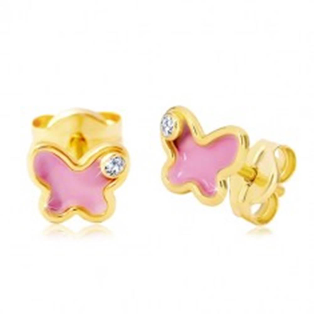 Šperky eshop Náušnice zo žltého 14K zlata, motýlik s ružovou glazúrou a zirkónom