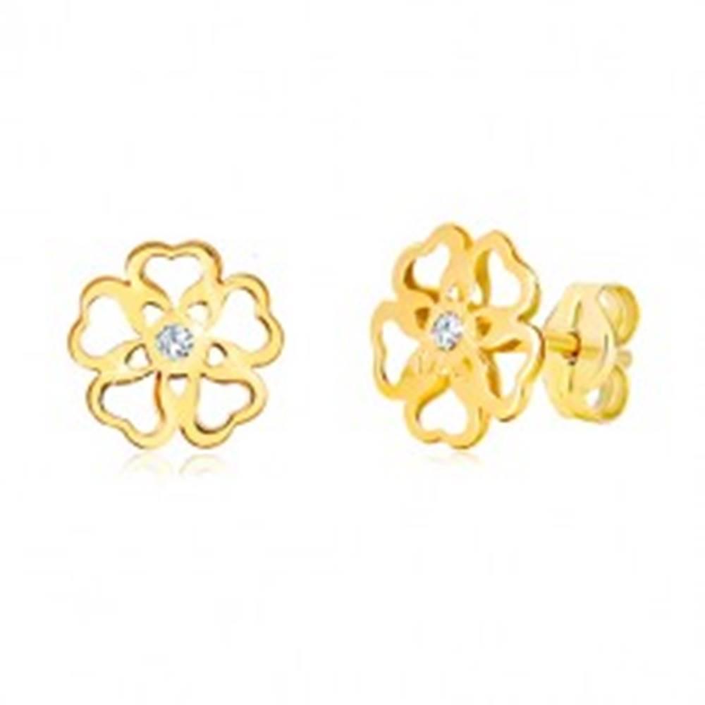 Šperky eshop Náušnice zo žltého zlata 585 - kvet s vyrezávanými srdiečkami, zirkón