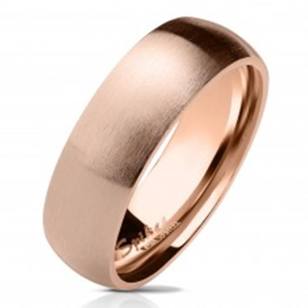 Šperky eshop Obrúčka z chirurgickej ocele v medenom odtieni, matný zaoblený povrch, 6 mm - Veľkosť: 49 mm