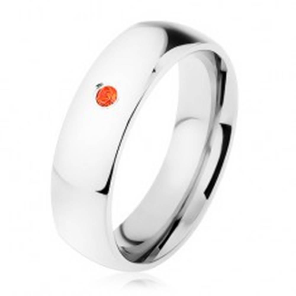 Šperky eshop Obrúčka z ocele 316L, oranžový zirkónik, vysoký lesk - Veľkosť: 49 mm