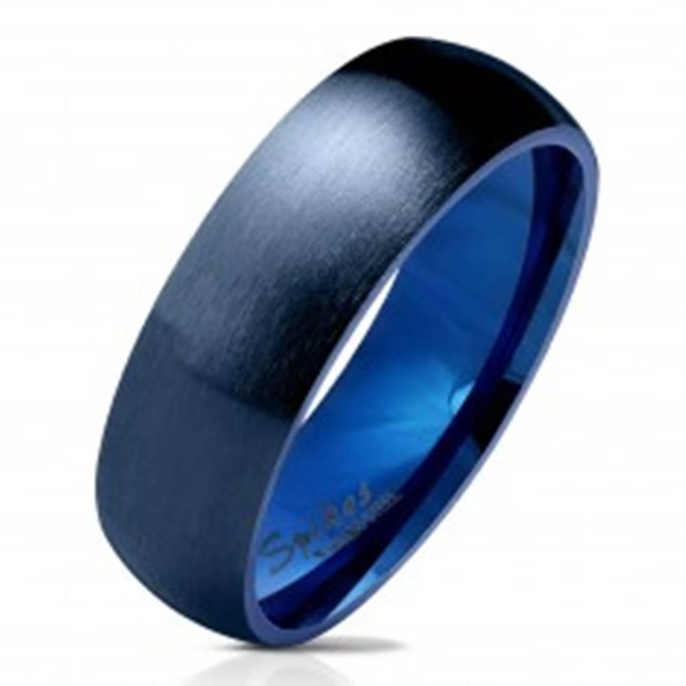 Šperky eshop Oceľová obrúčka v tmavomodrom odtieni, matný a vypuklý povrch, 6 mm - Veľkosť: 49 mm