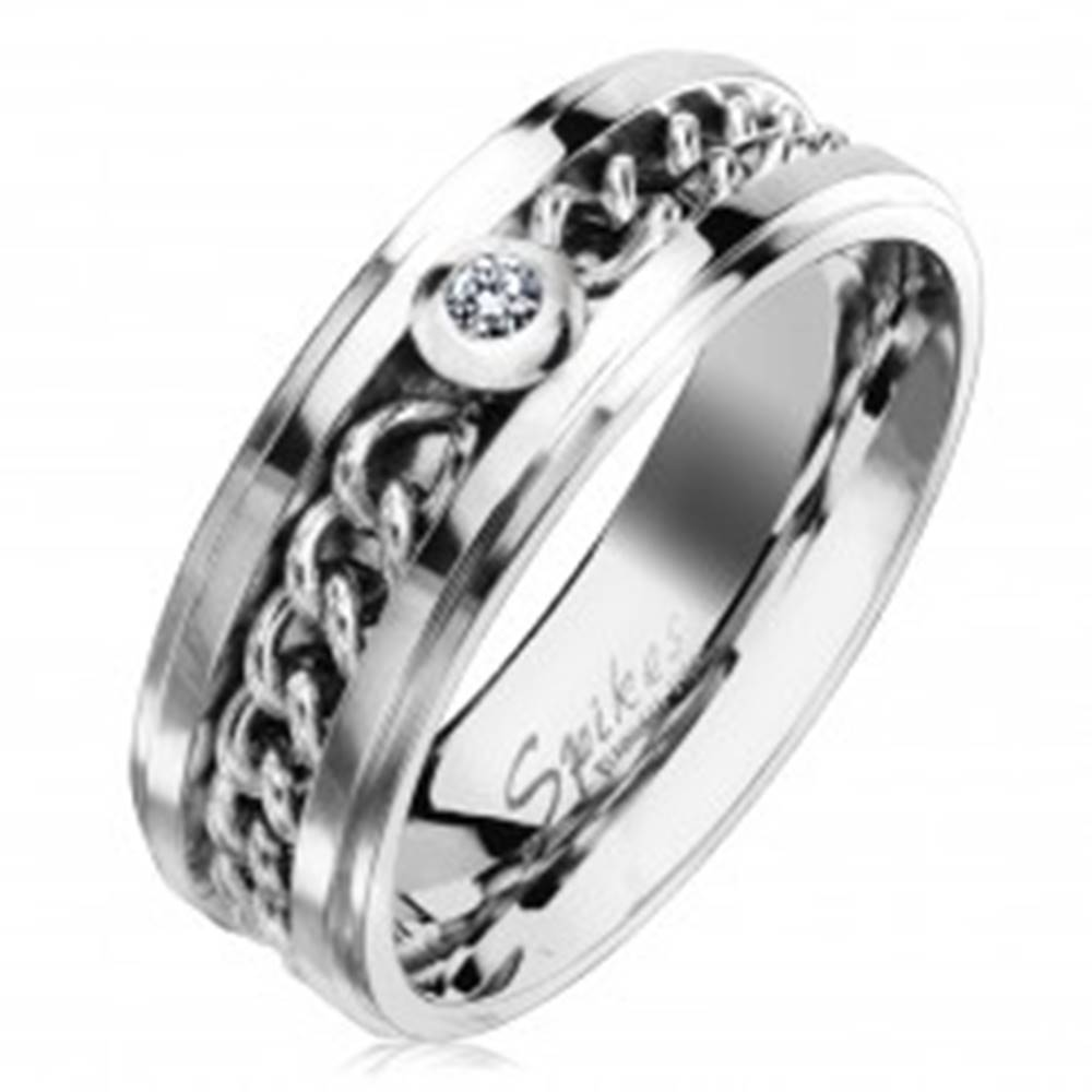 Šperky eshop Oceľový prsteň v striebornom odtieni s retiazkou a čírym zirkónom, 7 mm - Veľkosť: 49 mm