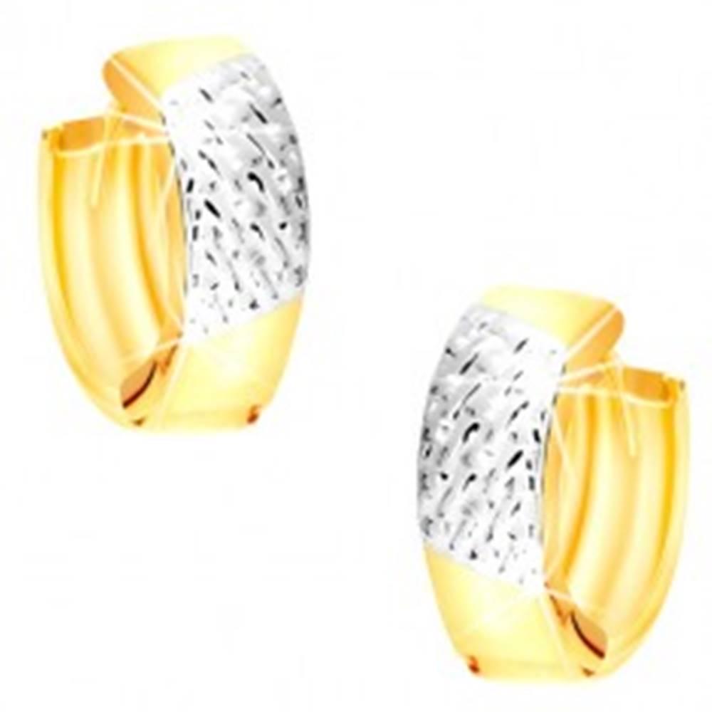 Šperky eshop Okrúhle náušnice z kombinovaného 14K zlata - výplet v bielom zlate