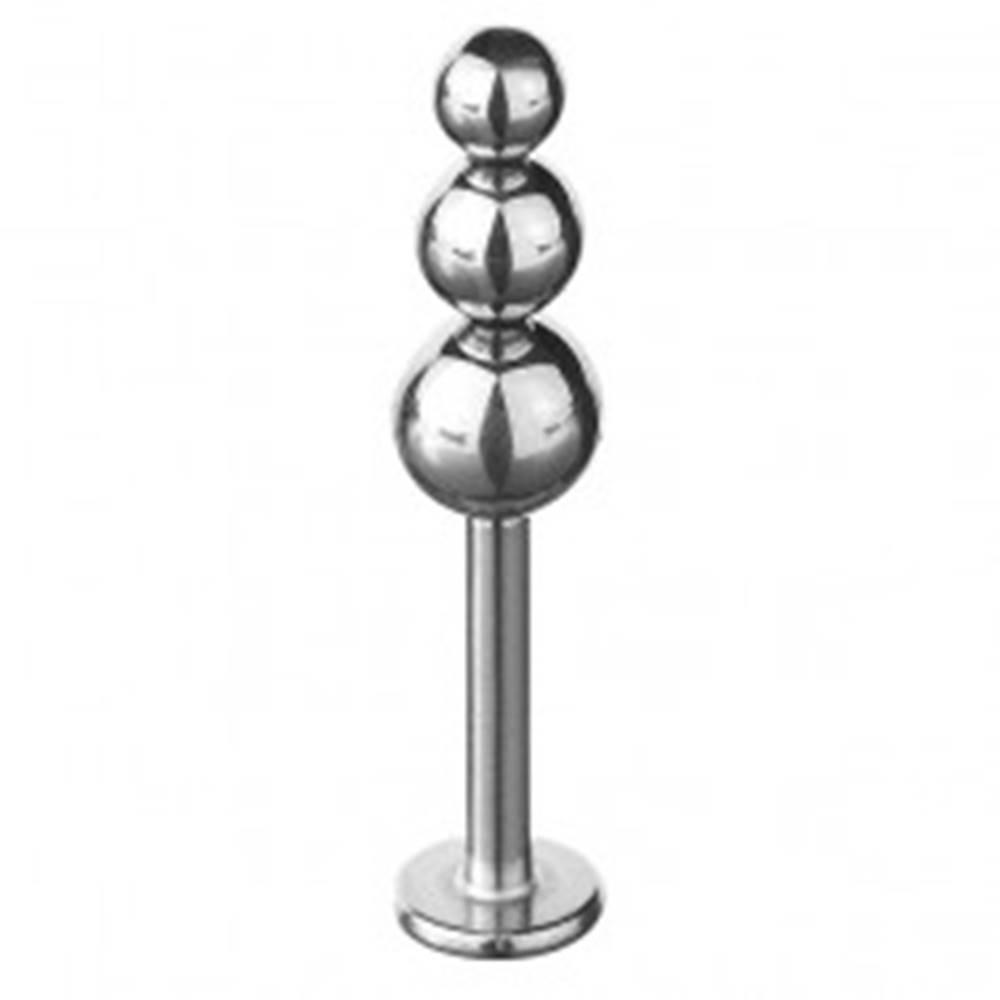 Šperky eshop Piercing do brady a pery - trojitá zmenšujúca sa guľa - Dĺžka piercingu: 7mm