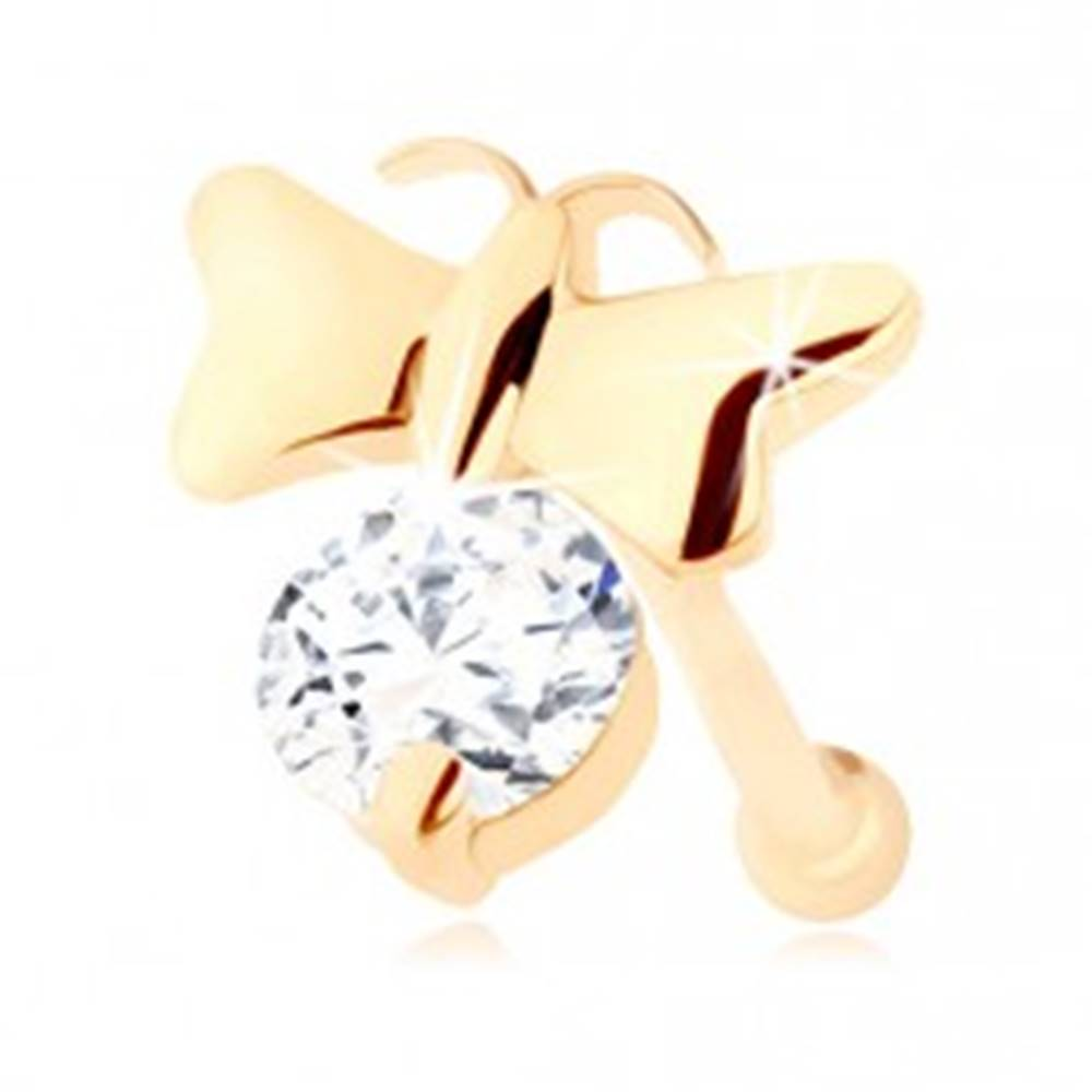 Šperky eshop Piercing do nosa v žltom 14K zlate - lesklý motýlik a číry zirkón, rovný