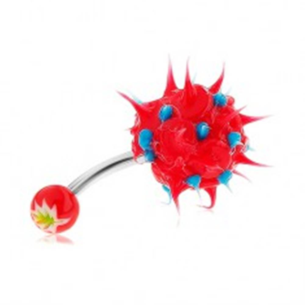 Šperky eshop Piercing do pupku z ocele 316L, červeno-modrý ježko zo silikónu
