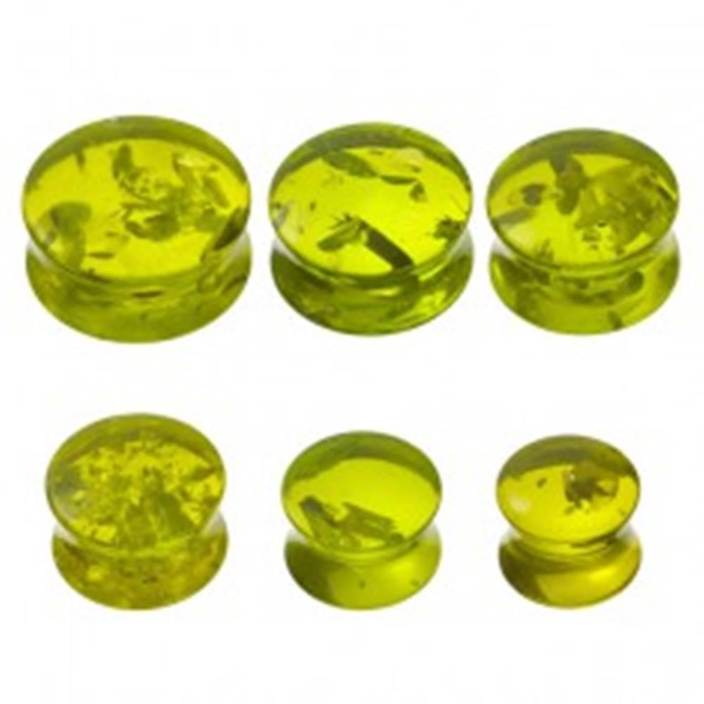 Šperky eshop Piercing do ucha - plug, imitácia zeleného jantáru - Hrúbka: 10 mm